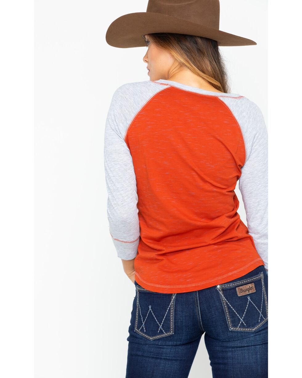 Ariat Women's Ride 'Em Cowboy Screen Print Graphic Baseball Tee, Red, hi-res
