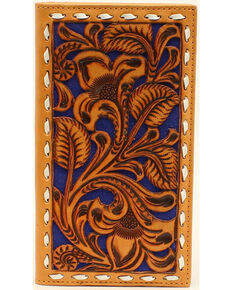 Nocona Men's Blue Floral Embossed Rodeo Wallet, Brown, hi-res