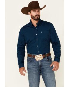 Cinch Men's Modern Fit Solid Navy Long Sleeve Button-Down Western Shirt , Blue, hi-res