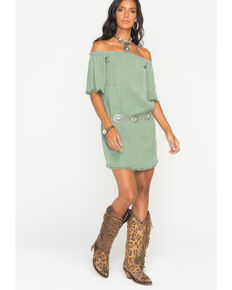 333e92e8ae99 Glam Women s Army Unfinished Hem Off The Shoulder Dress