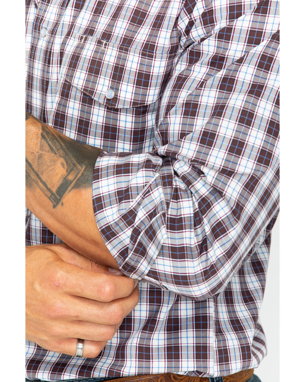 Wrangler Men's Brown Checkered Long Sleeve Western Shirt , Brown, hi-res