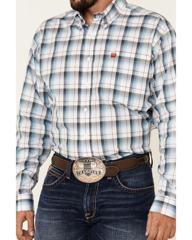 Cinch Men's Light Blue Large Stretch Plaid Long Sleeve Western Shirt , Light Blue, hi-res