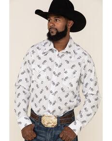 Rock & Roll Denim Men's White Floral Print Long Sleeve Western Shirt , White, hi-res