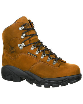 Georgia Boot Men's Suspension System Waterproof Work Boots - Round Toe, Brown, hi-res