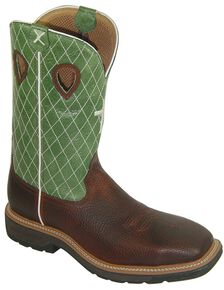 Twisted X Men's Lite Pull-On Work Boots - Steel Toe, Cognac, hi-res