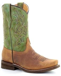 Corral Girls' Green Embroidery Western Boots - Square Toe, Green, hi-res