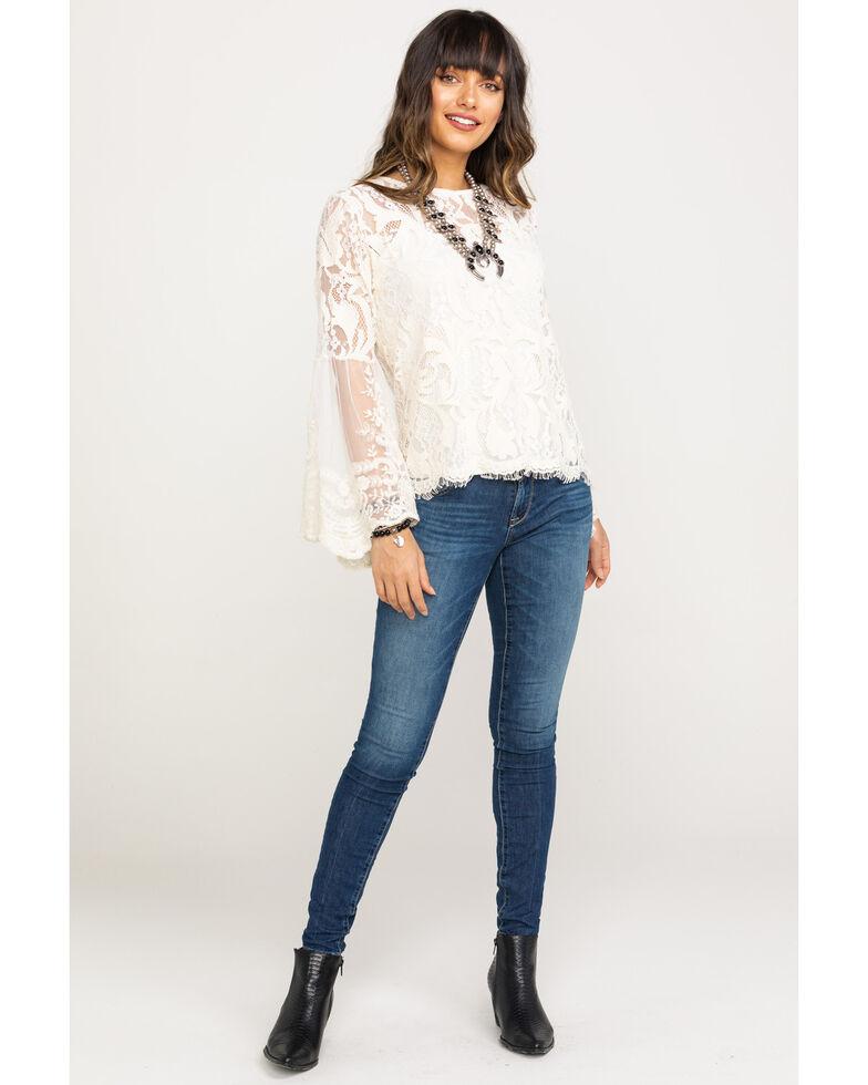 Bodywaves Women's Natural Lace Crochet Bell Sleeve Top, , hi-res