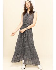Molly Bracken Women's Print Ruffle Maxi Dress, Black, hi-res