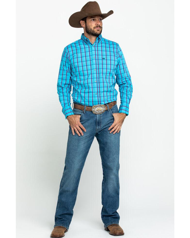 Wrangler 20X Men's Performance Teal Plaid Long Sleeve Western Shirt , Blue, hi-res