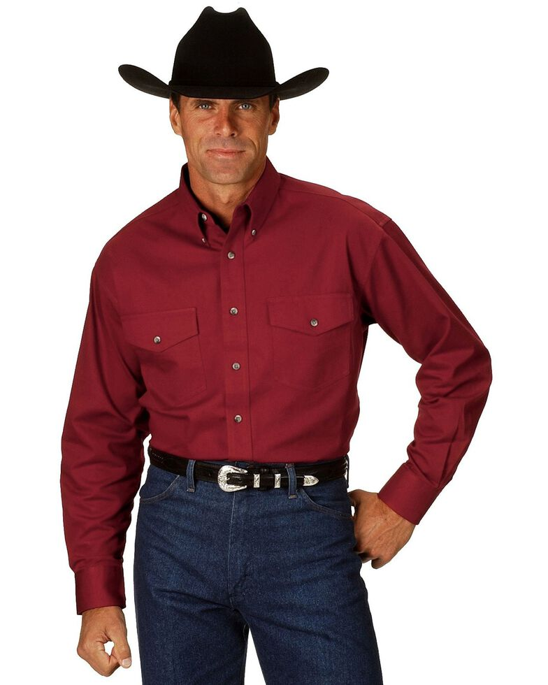 Wrangler Men's Painted Desert Solid Twill Long Sleeve Western Shirt, Red, hi-res