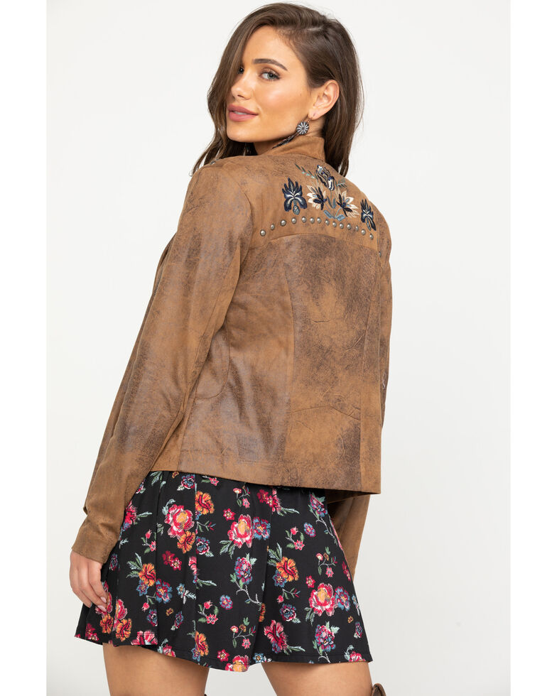Shyanne Women's Faux Suede Embroidered Jacket, Tan, hi-res