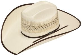 4f7c1eccfaa Twister 10X Shantung Brown Ribbon Bound Brim Straw Cowboy Hat