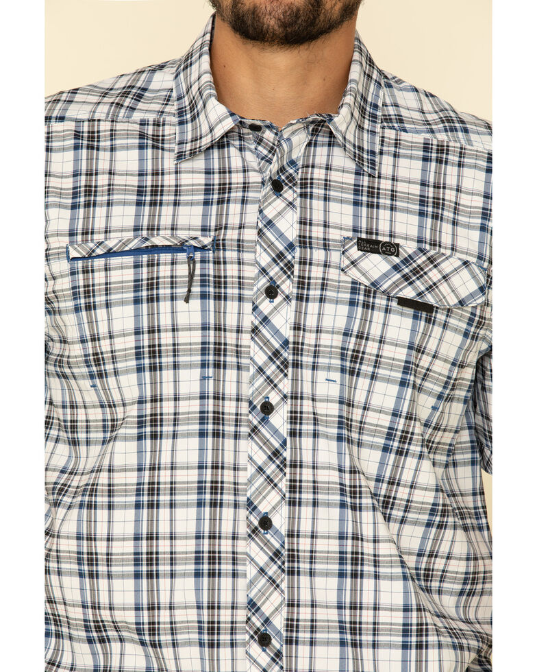 Wrangler All-Terrain Men's Limonges Plaid Asymmetric Zip Pocket Short Sleeve Western Shirt , Blue, hi-res