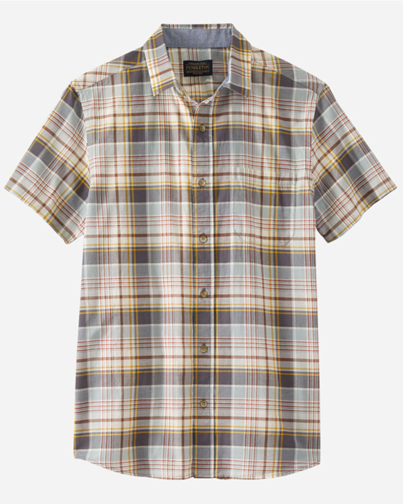 Pendleton Men's Ivory Truman Large Plaid Short Sleeve Button-Down Western Shirt , Multi, hi-res