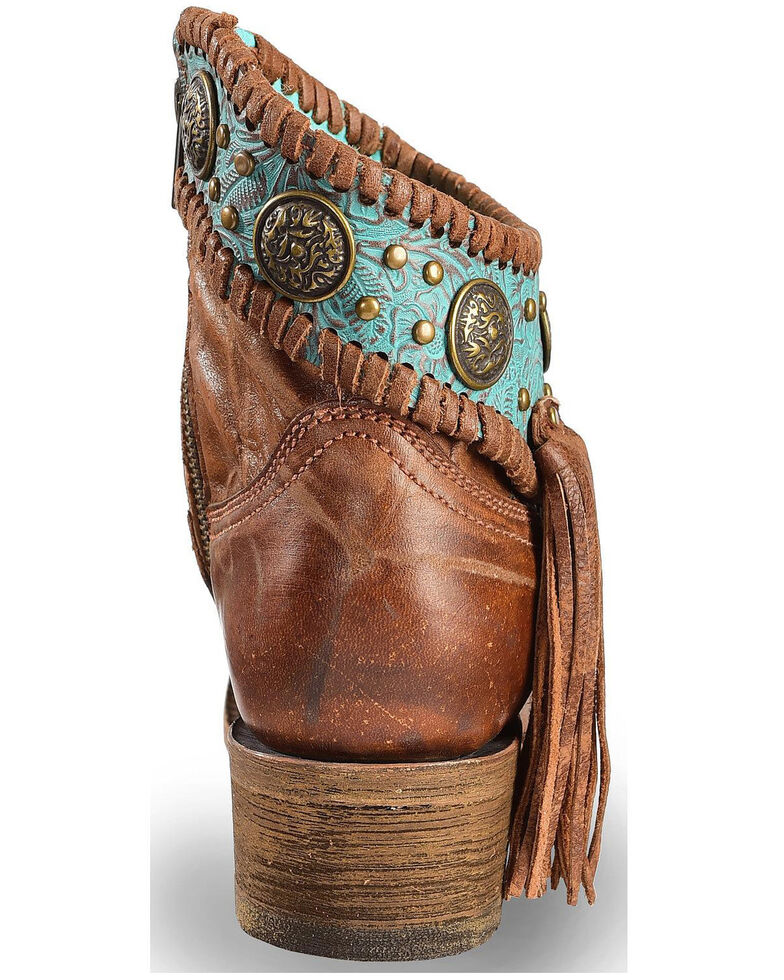 Corral Women's Turquoise Fringe Booties - Round Toe, Cognac, hi-res