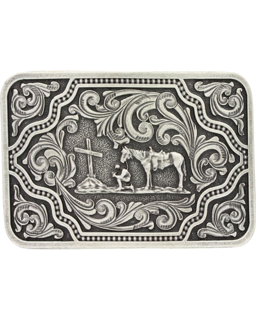 Montana Silversmiths Men's Silver and Black Christian Cowboy Belt Buckle , Silver, hi-res