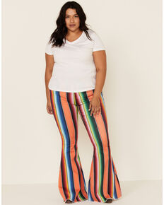 Ranch Dress'n Women's Serape Print Super Flare Jeans - Plus, Multi, hi-res