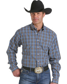 Cinch Men's Blue and Brown Plaid Western Shirt , Multi, hi-res