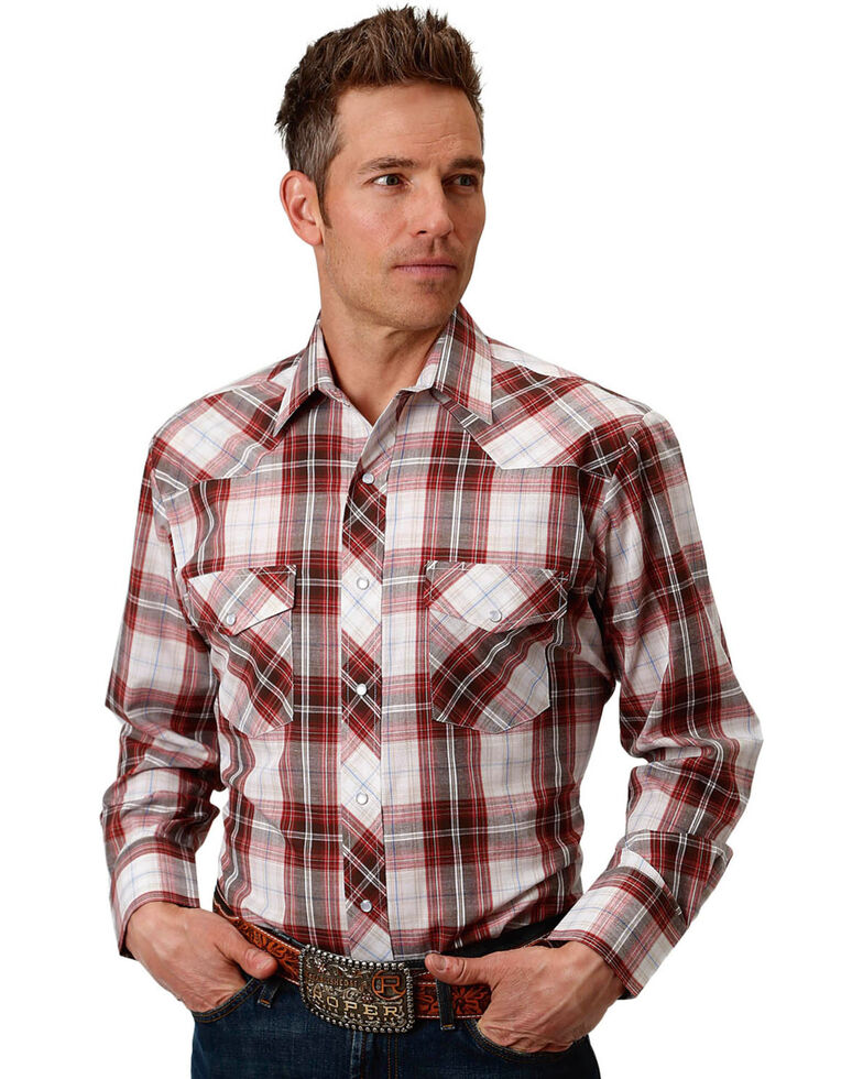 Roper Men's Brown/Red/White Plaid Long Sleeve Snap Shirt, Brown, hi-res