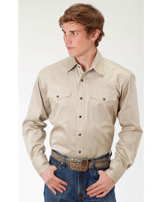 Roper Men's Tan Solid Poplin Long Sleeve Western Shirt, Tan, hi-res