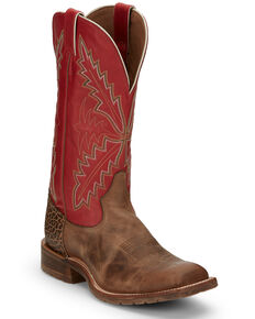 Tony Lama Men's Antonio Tan Western Boots - Wide Square Toe, Tan, hi-res