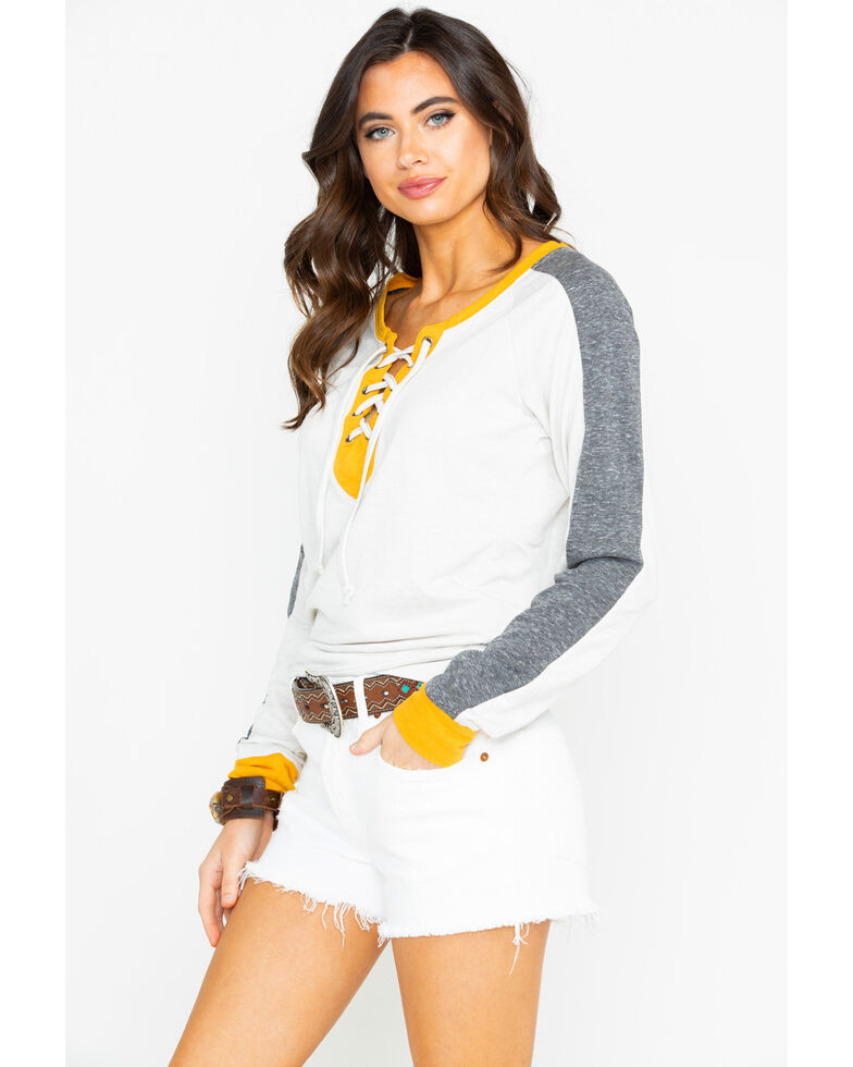 Rock & Roll Cowgirl Women's Yellow & Black Block Pullover, , hi-res