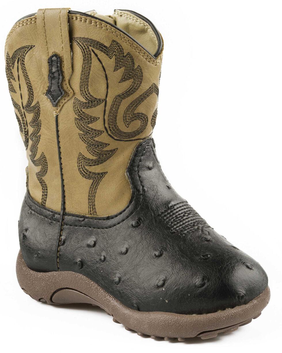 Roper Infant Boys' Black and Tan Ostrich Print Cowbabies Boots, , hi-res