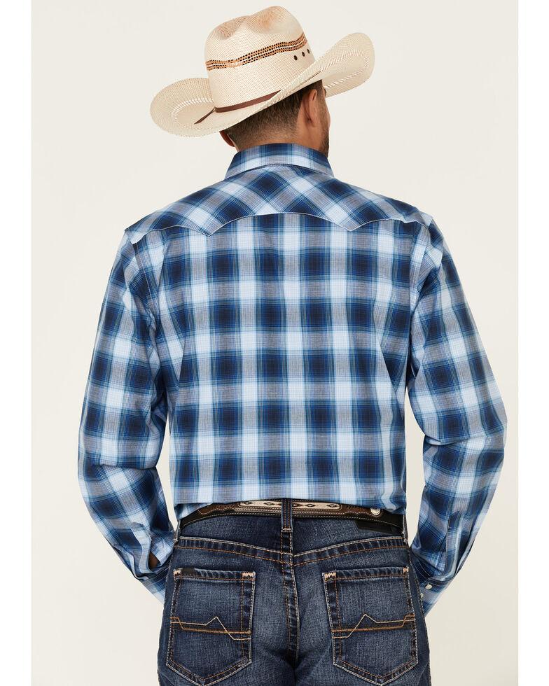 Wrangler Retro Men's Blue Large Plaid Snap Long Sleeve Western Shirt , Blue, hi-res