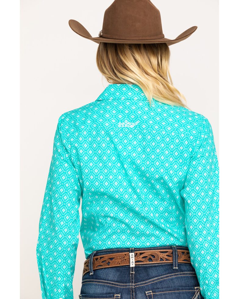 Ariat Women's Western Sky Kirby Stretch Long Sleeve Western Shirt , Turquoise, hi-res