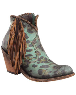 Liberty Black Women's Chita Turquesa Fringe Booties - Medium Toe , Turquoise, hi-res