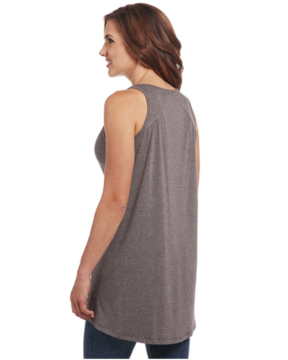 Cowgirl Up Women's Embroidered Neck Hi-Lo Tank, Charcoal, hi-res