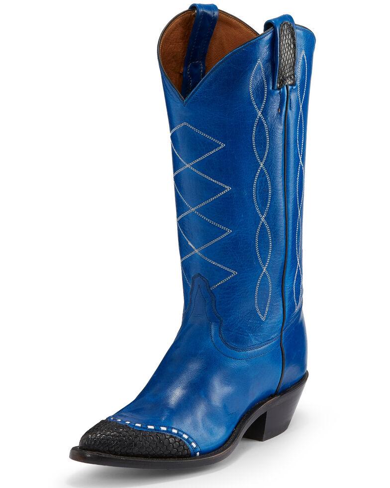Tony Lama Women's Baltic Blue Emilia Western Boots - Pointed Toe, Blue, hi-res