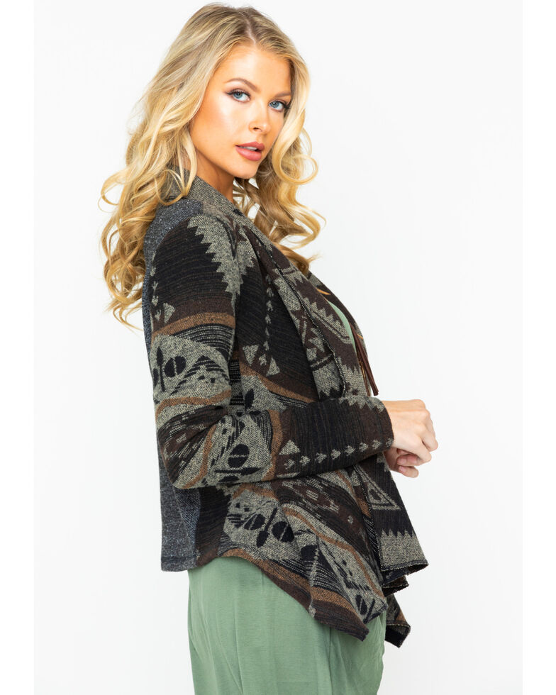 Shyanne Women's Aztec Draped Woven Sweater Jacket , Brown, hi-res