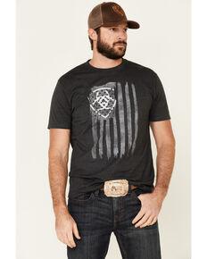 Ariat Men's Charcoal Vertical Flag Logo Graphic T-Shirt , Charcoal, hi-res