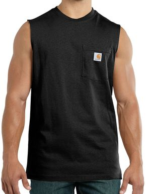 Carhartt Workwear Pocket Sleeveless Shirt, Black, hi-res
