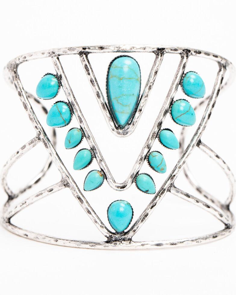 Idyllwind Women's Aztec Hammered Cuff Bracelet, Silver, hi-res