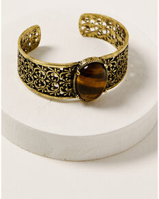 Shyanne Women's Golden Dreamcatcher Filigree Cuff Bracelet, Gold, hi-res