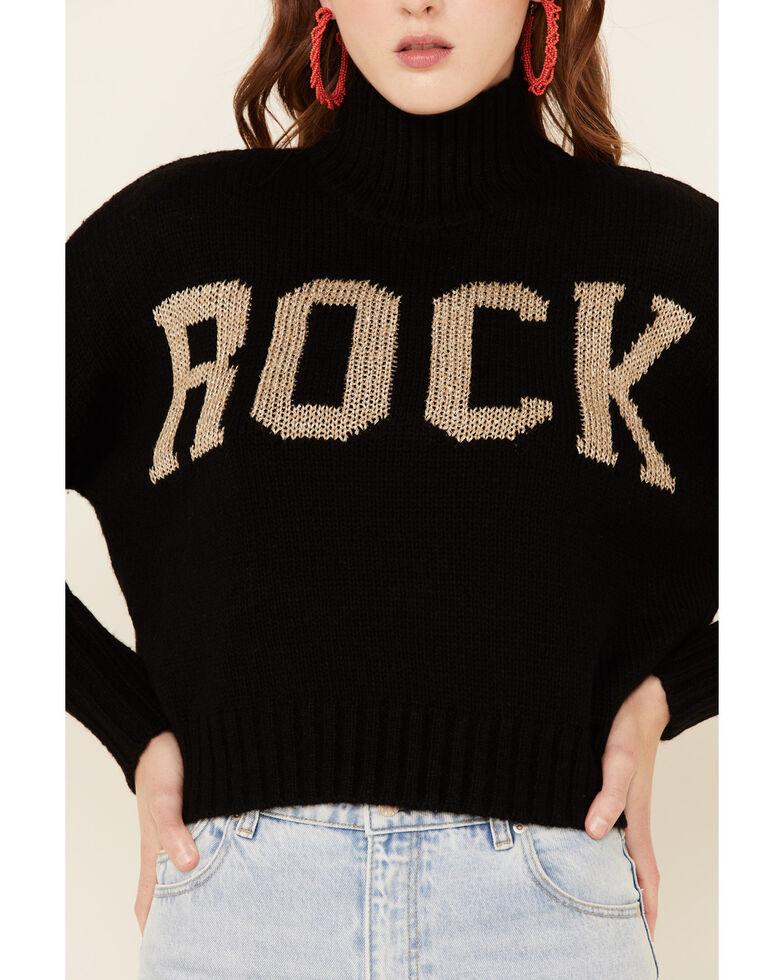 Elan Women's Rock & Love Mock Neck Sweater , Black, hi-res