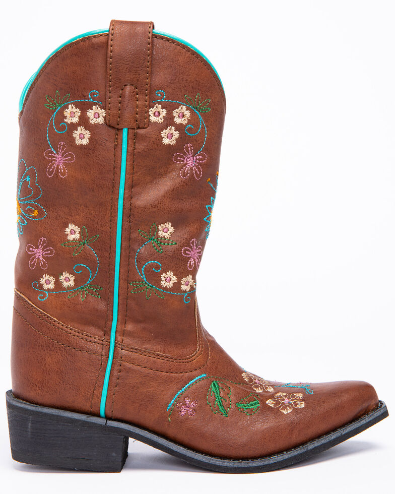 Shyanne Girls' Floral Embroidery Western Boots - Snip Toe, Brown, hi-res