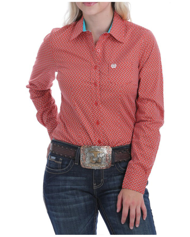 Cinch Women's Coral Geo Print Button Long Sleeve Western Shirt , Coral, hi-res