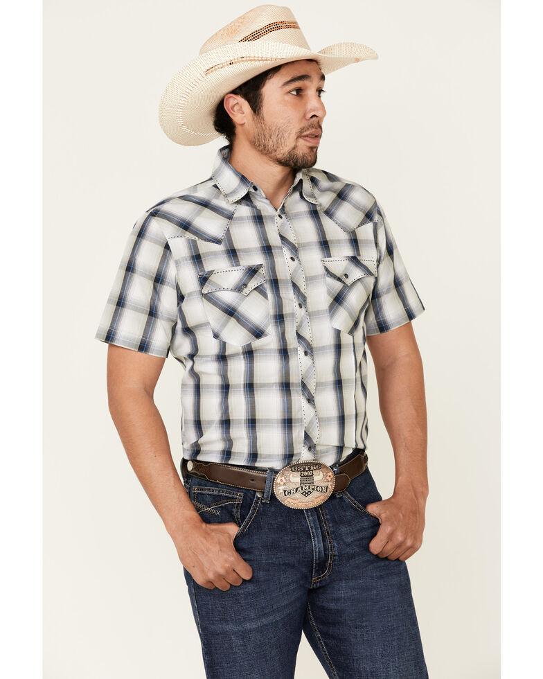 Wrangler Men's Carbon Large Plaid Fashion Snap Short Sleeve Western Shirt , Blue, hi-res