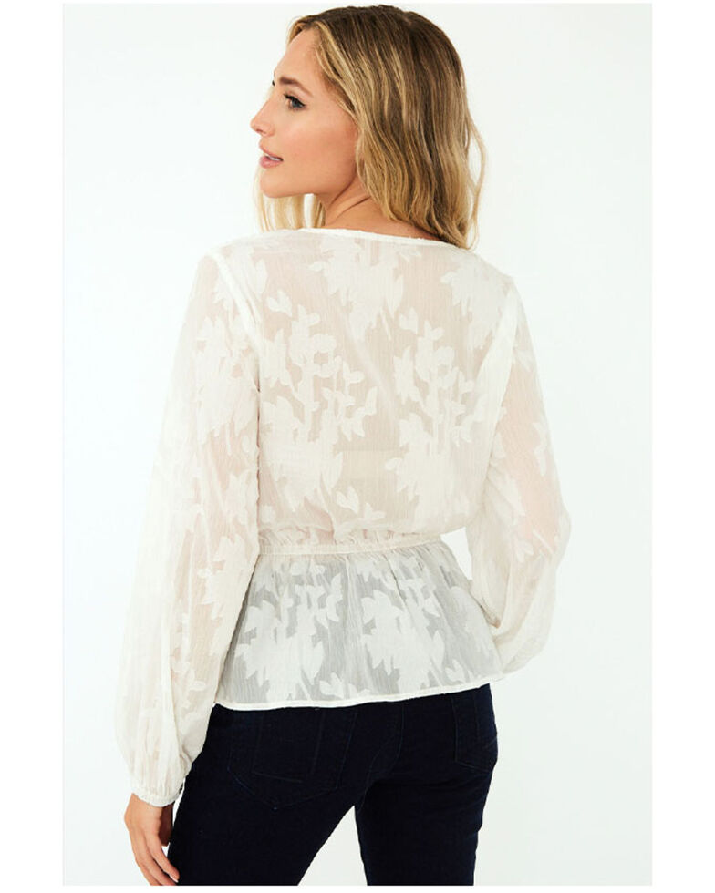 Saints & Hearts Women's Wrapped Lace Long Sleeve Top , White, hi-res