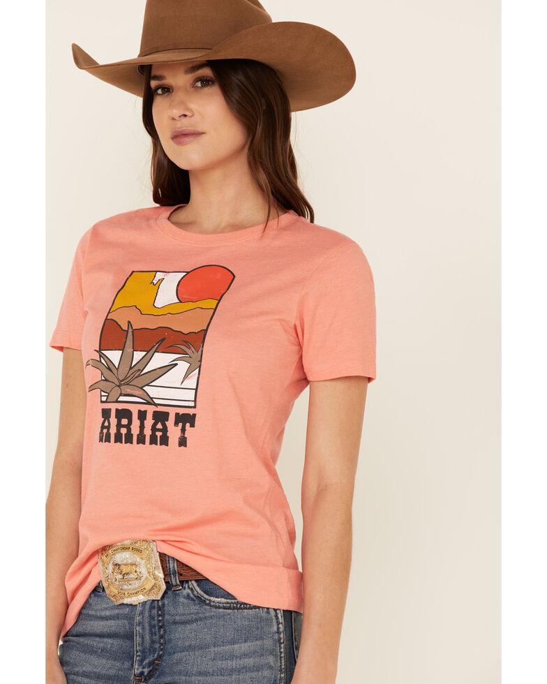 Ariat Women's Coral Desert Mod Logo Graphic Tee , Coral, hi-res