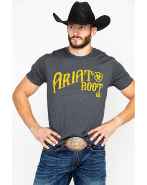 Ariat Men's Boot Co. Short Sleeve T-Shirt, Charcoal, hi-res