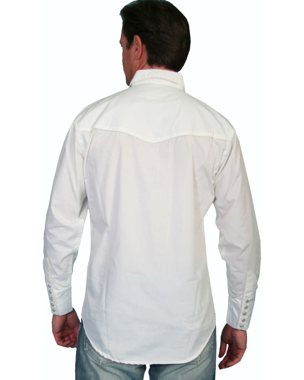 Scully Tonal Front Embroidered Western Shirt, White, hi-res