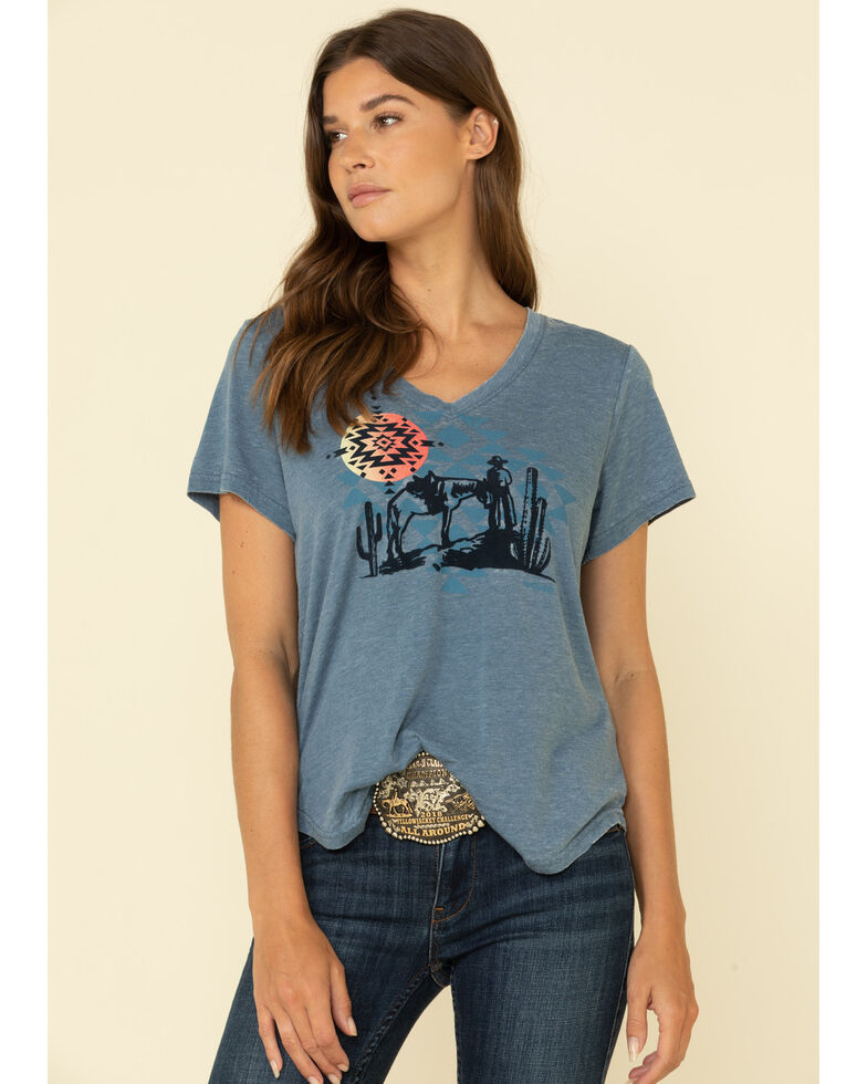 Ariat Women's V-Neck Aztec Sun Graphic Tee, Blue, hi-res