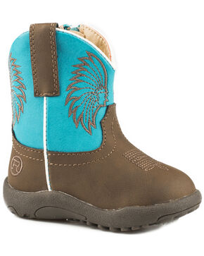 Roper Infant Boys' Big Chief Cowbabies Boots, Brown, hi-res