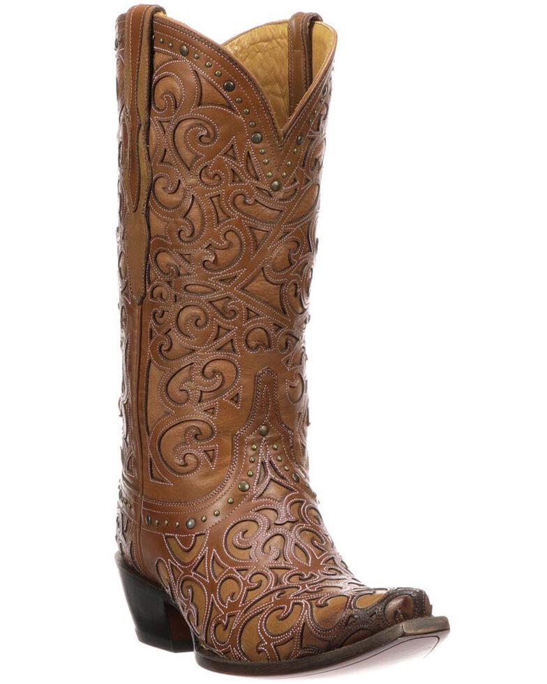 Lucchese Handmade 1883 Women's Sierra Cowgirl Boots - Snip Toe, Tan, hi-res