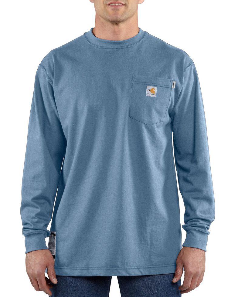 Carhartt Men's Flame-Resistant Solid Long-Sleeve Work Shirt - Big & Tall, Med Blue, hi-res