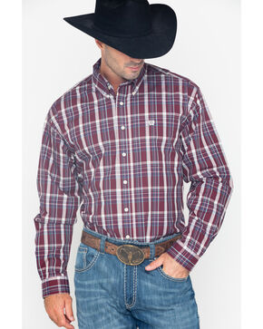 Cinch Men's Burgundy Plaid Long Sleeve Button Down Western Shirt, Burgundy, hi-res